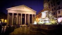 Pantheon and Piazza della Rotonda on a rainy evening