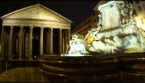 Pan shot of Pantheon and fountain in the Piazza della Rotonda