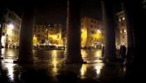 Looking through the Pantheon pillars at the square