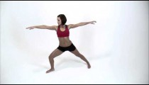 Woman stretching on a white background.