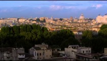 Slow pan of Rome, the Tiber and monuments