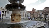 Fountain, columns, and basilica of St Peter
