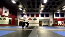 Martial arts instructor performing Tae Kwon Do.