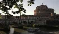 Boat under Ponte Sant'Angelo, with Castel Sant'Angelo