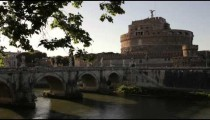 Angled footage of Ponte and Castel Sant'Angelo