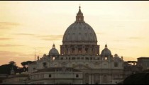 Dome of St Peter's before orange sunset
