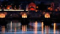 Panning shot of bridge in front of San Pietro in Vatican City