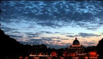 View of San Pietro and the Vatican City at sunset.