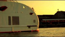 Tracking footage of enormous luxury barge