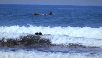 Slow motion shot of a surfer on his board and a couple playing in the water in Costa Rica