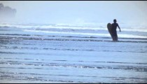 Slow motion shot of a male surfer walking on shallow water as he carries a surfboard in Costa Rica