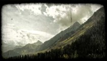 Mountain time-lapse 3. Vintage stylized video clip.