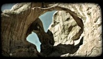 Two arches in Moab 2. Vintage stylized video clip.