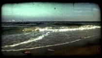 Ocean shore line. Vintage stylized video clip.