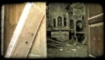 Footage of the doorway and interior of an abandoned theater. Vintage stylized video clip.