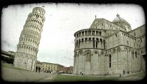 Tower of Pisa 6. Vintage stylized video clip.