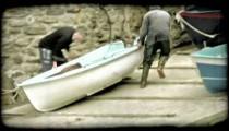 Boat Dock. Vintage stylized video clip.
