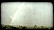 Rainbow and town 2. Vintage stylized video clip.