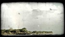 Rainbow and beach. Vintage stylized video clip.