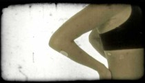 Side of fitness woman 1. Vintage stylized video clip.