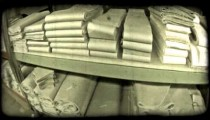 Rows of thick folded fabric. Vintage stylized video clip.