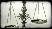 Old metal scale. Vintage stylized video clip.