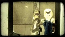 Children's puppets. Vintage stylized video clip.