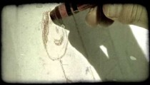 Child draws with crayon. Vintage stylized video clip.