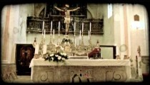 Cathedral Alter. Vintage stylized video clip.