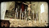 Cathedral Christ. Vintage stylized video clip.