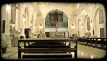 Cathedral Pews. Vintage stylized video clip.