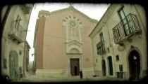 Cathedral Exterior. Vintage stylized video clip.