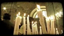 Candles on Alter 4. Vintage stylized video clip.