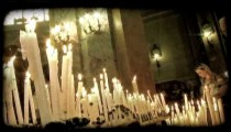 Candles on Alter 3. Vintage stylized video clip.