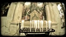 Candle and artwork. Vintage stylized video clip.