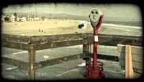 Red viewer on pier. Vintage stylized video clip.