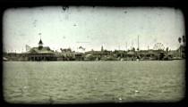 Port city edge. Vintage stylized video clip.