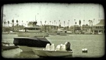 Boat harbor. Vintage stylized video clip.