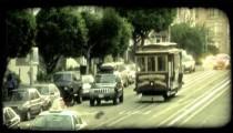 San Fransisco trolley. Vintage stylized video clip.
