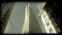 Trans America building. Vintage stylized video clip.