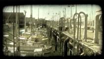 San Fransisco dock 2. Vintage stylized video clip.