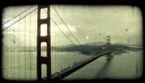 Golden Gate Bridge 3. Vintage stylized video clip.