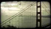 Golden Gate Bridge 2. Vintage stylized video clip.