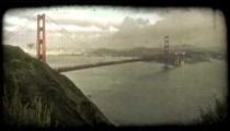 Golden Gate Bridge 1. Vintage stylized video clip.
