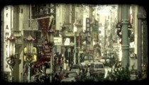 Street in Chinatown. Vintage stylized video clip.