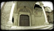 Cathedral Entrance 4. Vintage stylized video clip.
