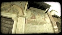 Cathedral Entrance 2. Vintage stylized video clip.