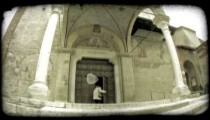 Cathedral Entrance 1. Vintage stylized video clip.