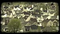 Suburb houses. Vintage stylized video clip.