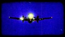 Plane prepares for landing. Vintage stylized video clip.